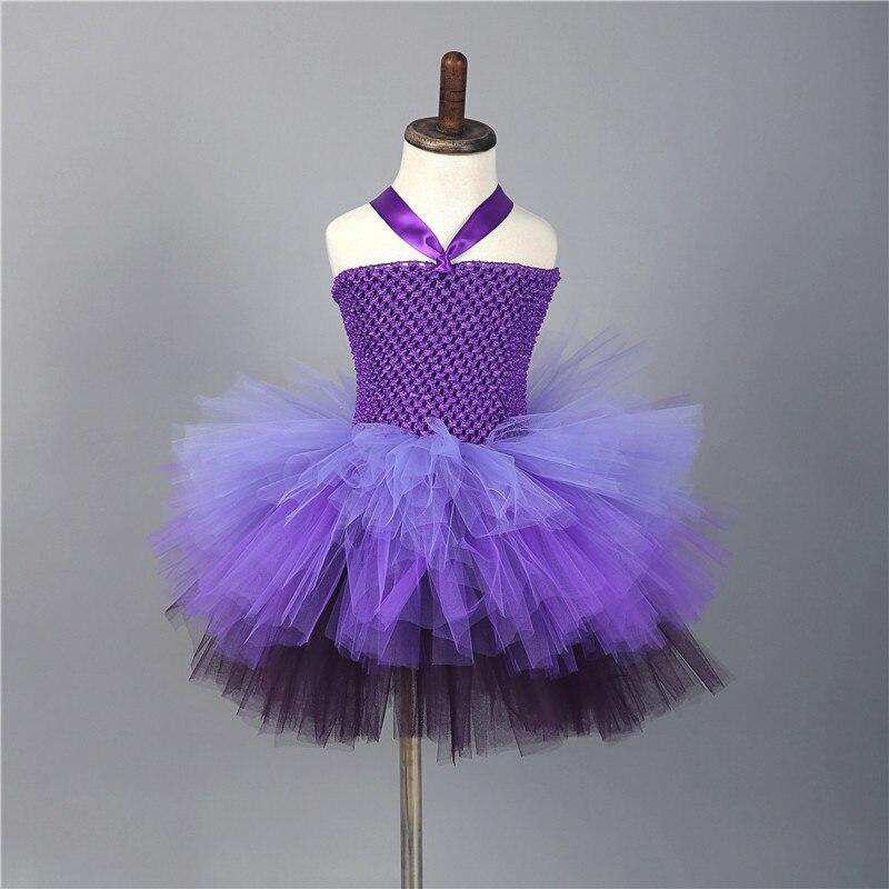 Purple Tutu tul dama flor Niñas vestido de novia mullidas bola noche ...
