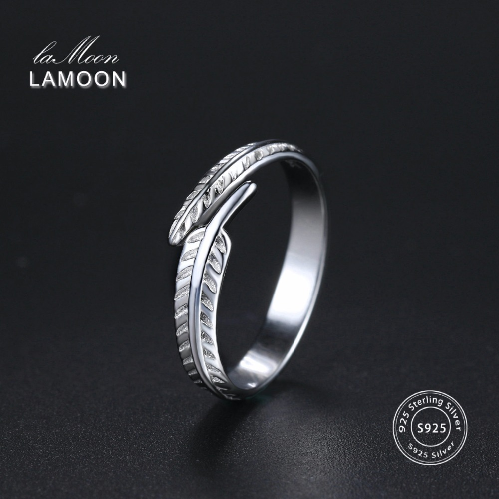 Lamoon 2017 New Feather Plumage 925-Sterling-Silver Adjustable Rings S925 Fine Jewelry For Women Wedding Gift LMRY049
