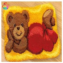 HOT Latch Hook Cushion Kits Gift DIY Needlework Crocheting Throw Pillow Unfinished Yarn Embroidery Set Pillowcase Teddy Bear AQ1(China)