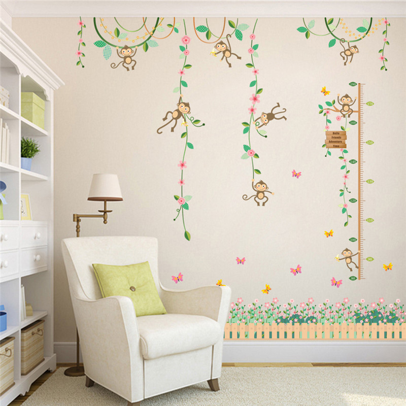 Garden monkeys height measure wall stickers for kids rooms for Nursery charts