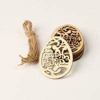 10pcs Laser Cut Happy Easter Egg Wooden Tag Wood Chips Embellishment Decorative Pendants DIY Hanging Ornament With String