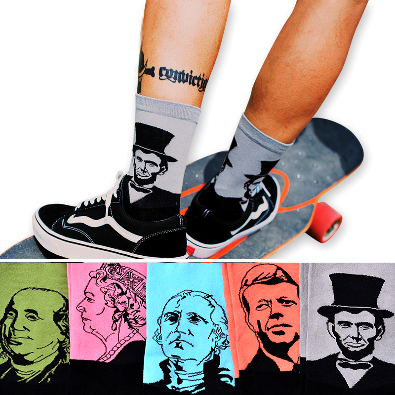 Wales Washington Kennedy Elizabeth Lincoln Socks Retro Art Abstract Oil Painting Portrait Figure Men Cotton Funny Happy Socks