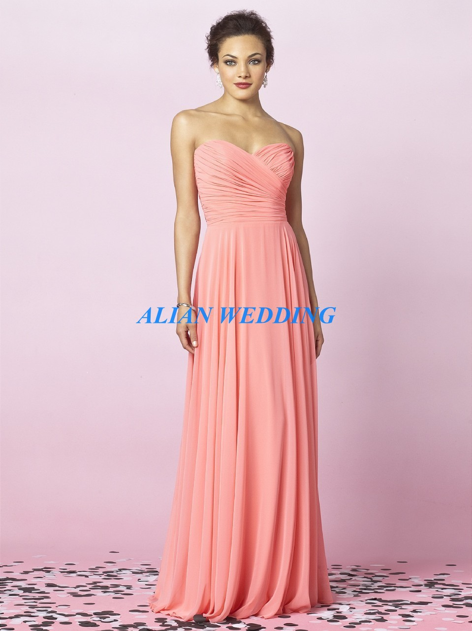 Color Coral dama de honor vestidos baratos Vestido Madrinha plisado ...