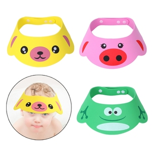 KLV Cartoon Baby Shampoo Cap Soft Adjustable Child Kid Wash Hair Shield Direct Visor Hat Cute Bathing Shower Protector Baby Care