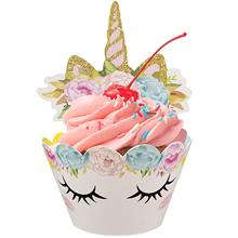 METABLE 24PACK Unicorn Cupcake Toppers Wrappers Happy Birthday Party Cake Decoration