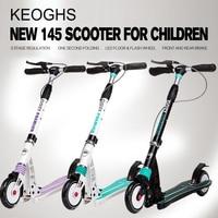 new model adult children kick scooter Handbrake Foldable PU 2wheels all aluminum shock absorption urban campus transportation