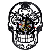 Sugar Skull Ornament Vinyl Wall Clock Flowers Skull Vintage Art Home Decor Quartz Decorative LED Clocks