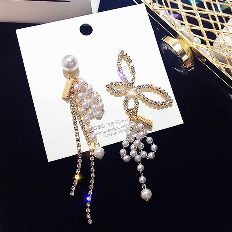 Motyl kolczyki kobiety koreański nowy asymetryczny Trendy kropla wody moda zwisają proste kobiet symulowane perły kolczyki