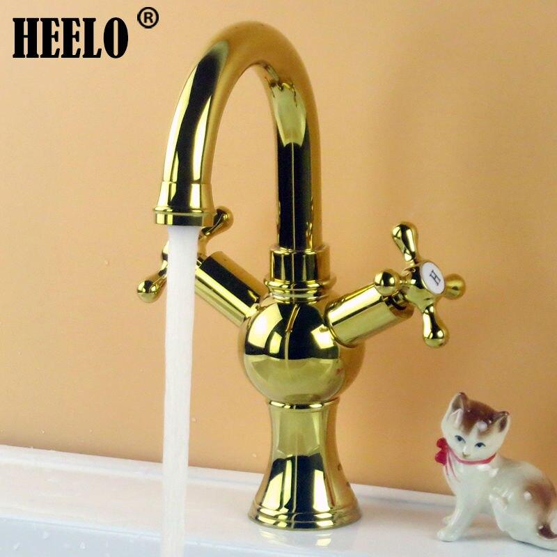 Latón baño grifos mezclador vanidad lavabo grifo en bronce cromo con giro  Caño ba12357369ac