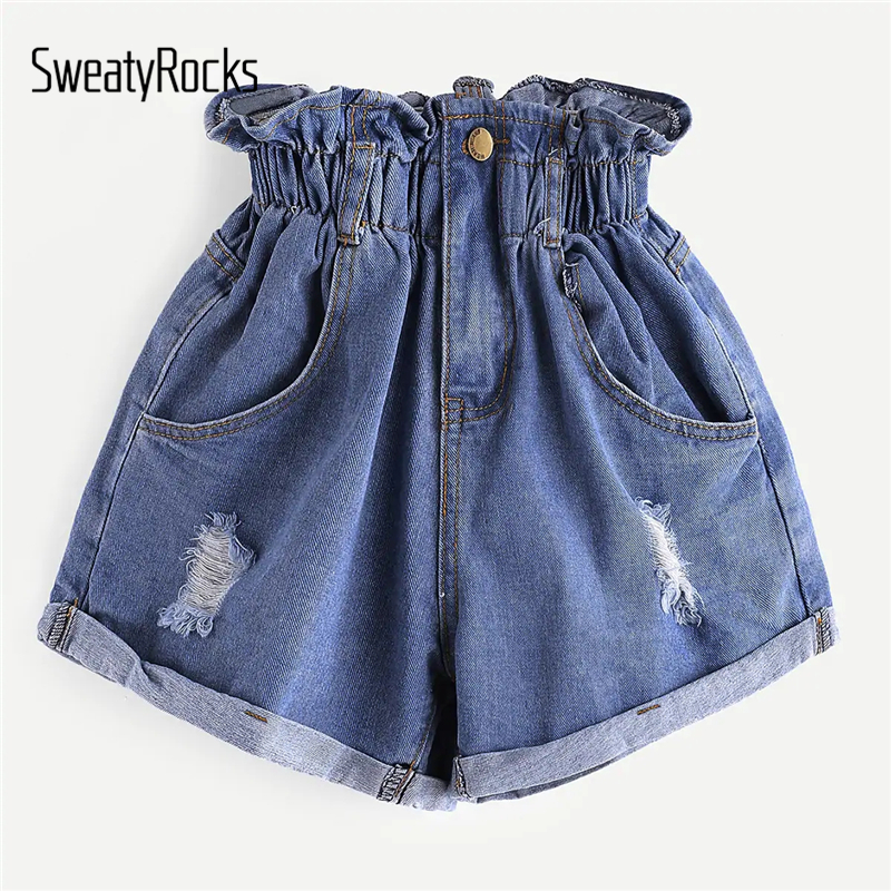 SweatyRocks Elastic Waist Ripped Denim   Shorts   Women Streetwear High Waist Pockets   Shorts   2019 Summer Button Fly Solid   Shorts