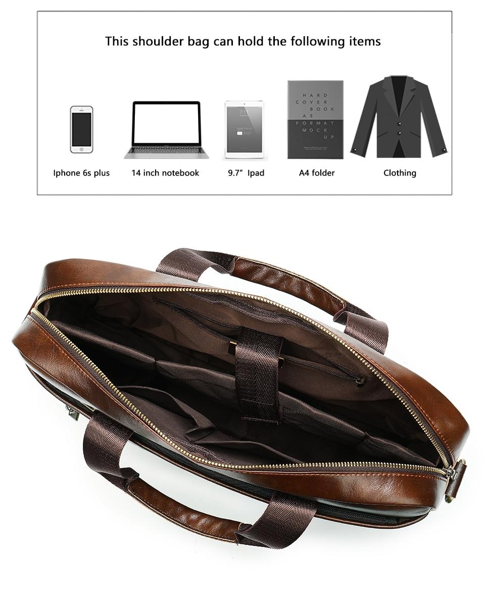 4 Bag Men's Genuine Leather Briefcase Male Handbags Lawyer Man Laptop Bag Leather for Men Messenger Bags Men's Briefcases