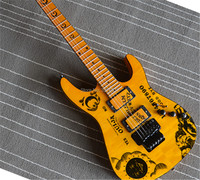 Factory Custom Yellow Electric Guitar Floyd Rose,Moon goddess can be Customized