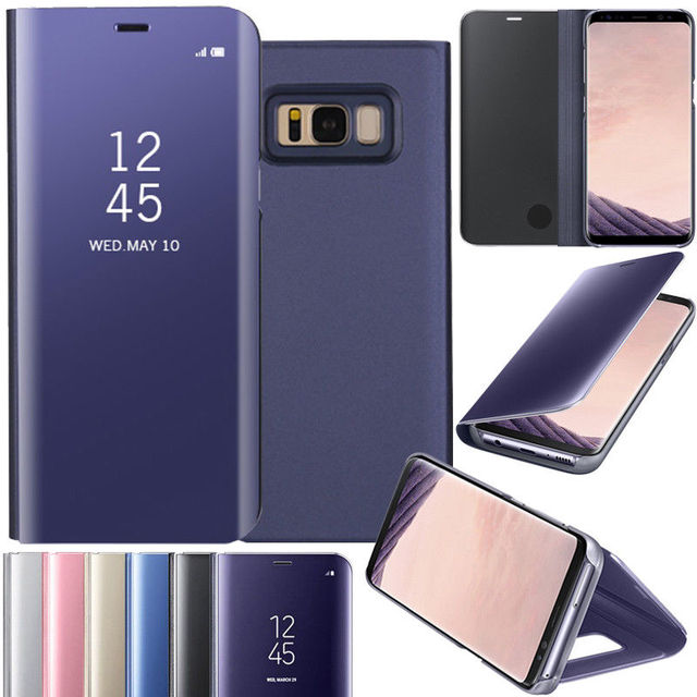 pretty nice 62fa8 51562 US $8.2 |2018 Smart Mirror Flip S View Leather Case Cover Stand For Samsung  Galaxy Note8 5 cases covers-in Flip Cases from Cellphones & ...