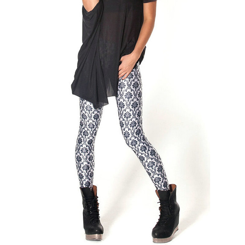 Retro Black White Print Sexy Leggings Spring Autumn Women Free Shipping Digital Slim