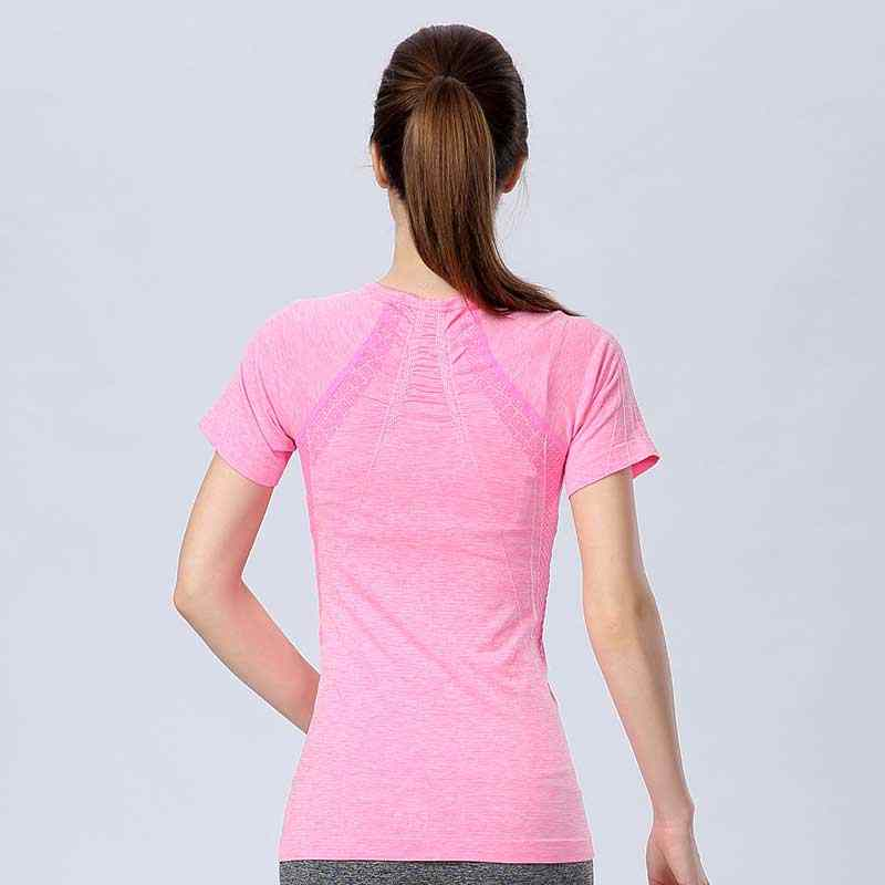 Women QUICK-DRY Tee For Sporting Summer Shirts Brand Top Exercise Runs Yogaing Clothing T-Shirt Workout Vest Fitness Gymming V80