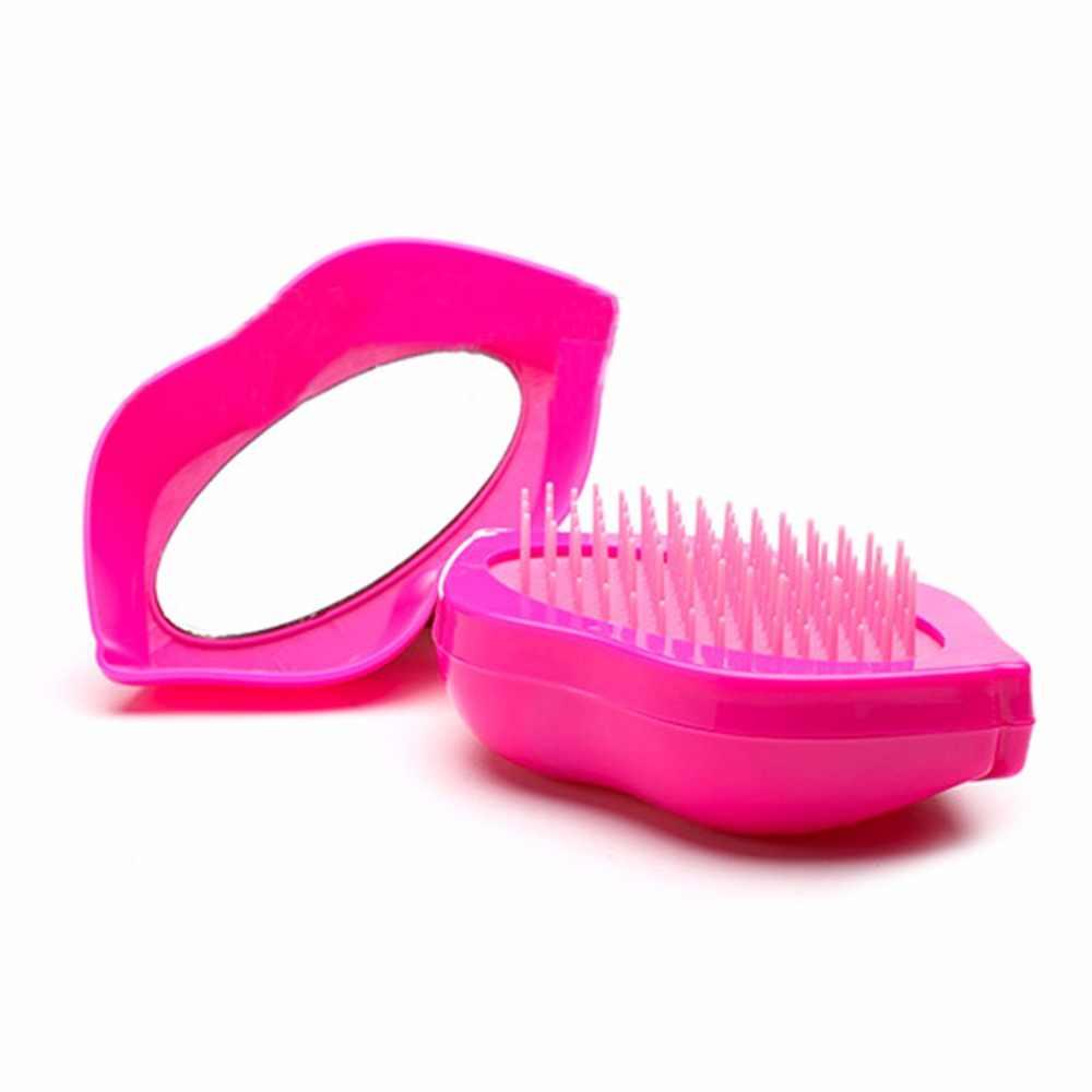 Magic Mulut Besar Gaya Bantalan Sikat Rambut Sisir dengan Cermin untuk Perawatan Rambut Sisir Membuat Rambut Styling Alat Pijat Gratis kapal