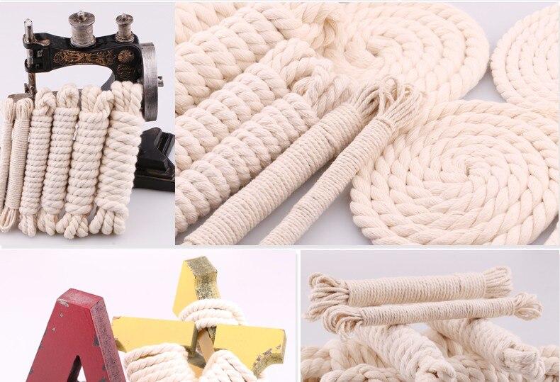 5yd/лот высокопрочный натуральный цвет 3ply круглый плоский канат хлопок шнуры для дома ручной работы аксессуары для одежды проекты рукоделия