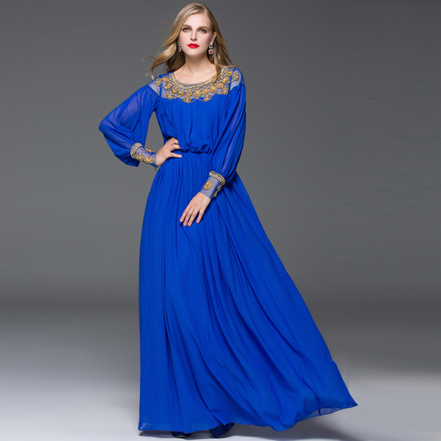 2019 New Style Summer Long Sleeve Maxi Dress Women Vintage Beading  Black Blue Gauze Mesh 75a7b105fa46