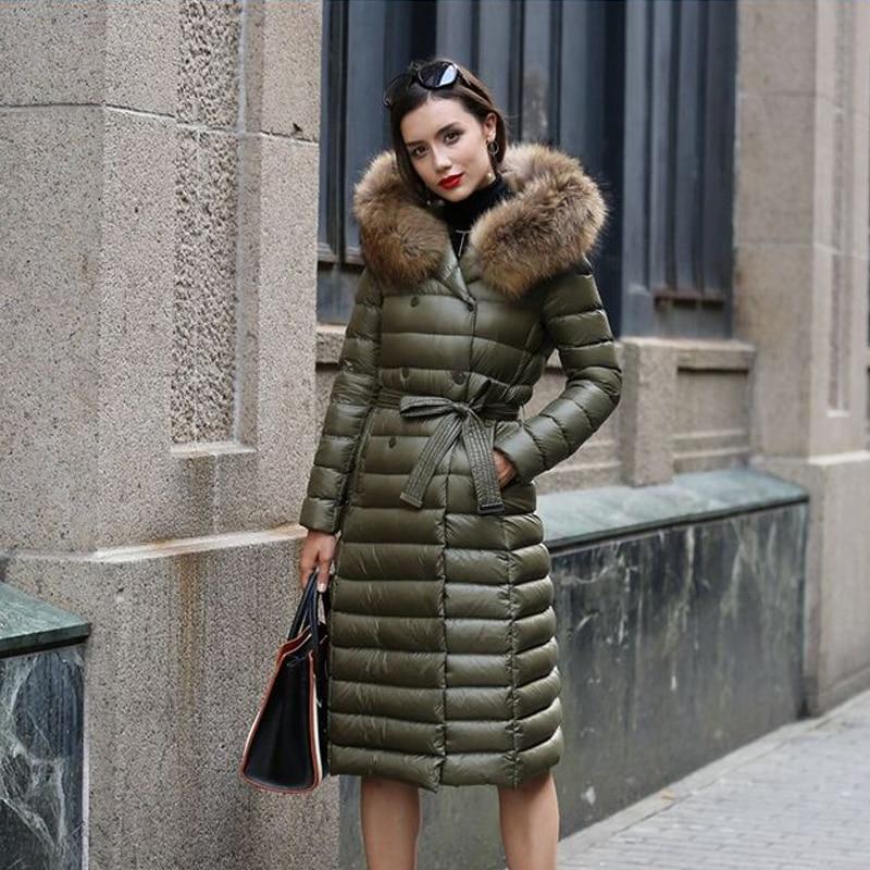 Green Femmes Parka Raton army D'hiver La Manteau Veste Taille Duvet Laveur Grand Nouvelle Réel pourpre Plus Noir De Naturel Blanc 90 Canard 2018 Fourrure Mode Femelle xpnSOanq