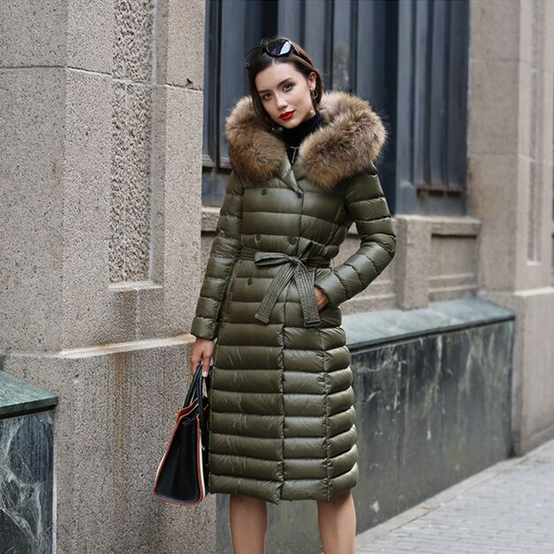 Large Real Natural Raccoon Fur 2018 New Fashion 90% White Duck   Down   Parka Winter Jacket Women   Coat   Plus Size Female Jacket