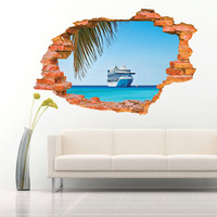 At The End Of A Aw8001G Ship Sea Fashion 3D Poqiang Stereo Effect Picture Background Wall
