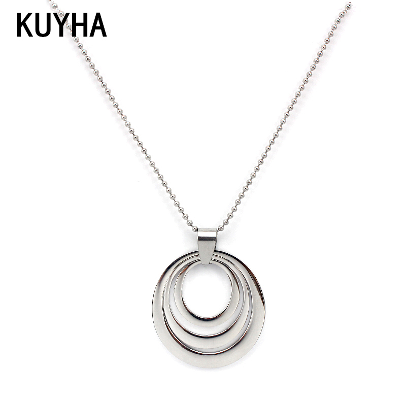 Famous Handmade Jewellery Big Silver Multi Circle Opal Pendant Necklace  FZ21
