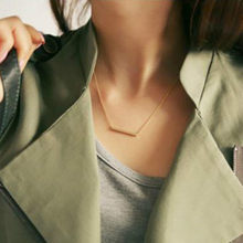 Popular Personality Simple Metal Bar Triangular Word Tassels Women Short Necklace Jewelry Wholesale Chokers(China)