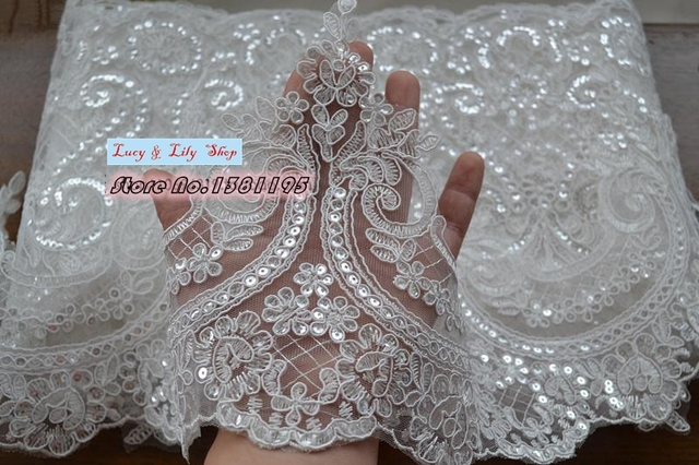 24CM High Quality Scalloped Tulle Sequins Lace Trim Bling Paillette Wedding Dresses Bridal Veils