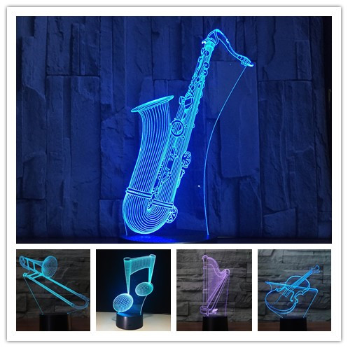 Sax Harp Drum Trumpet 7 Color 3D Visual Led Night Lights Touch Usb Table Lampe Music Piano Lamp Baby Sleeping Lightin Home Decor
