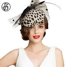 FS винтажная шляпа-таблетка с леопардовым принтом с вуалью австралийская шерсть бант фетровые вуалетки фетровая шляпа Федора элегантная Свадебная шляпка