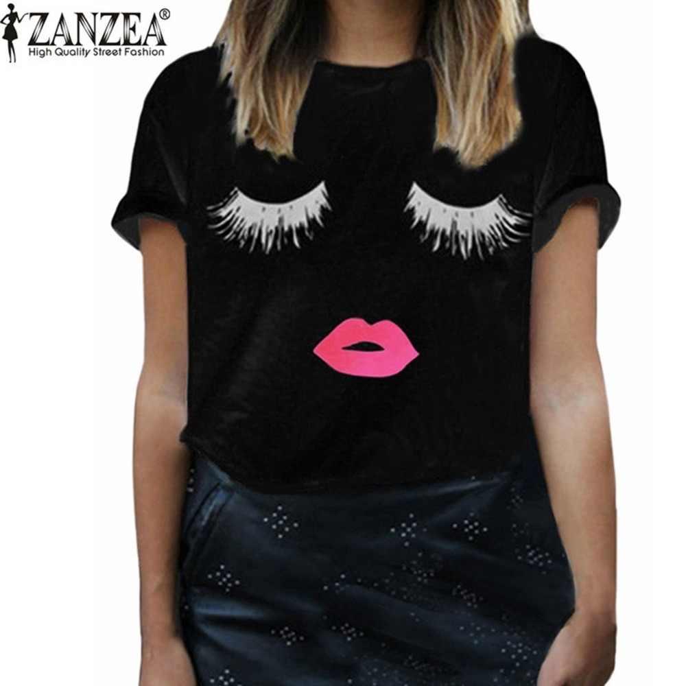 Zanzea Nieuwe Collectie 2020 Zomer Stijl Vrouwen Elegante Wimpers Lip Print T-shirt Casual Losse Eenvoudige O Hals Witte Top tees Blusas