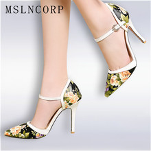 Plus Size 34-47 spring Summer High Heels Sandals Dress lady Pumps slip on Shoes sexy Women Printing Leather party Wedding shoes цена в Москве и Питере