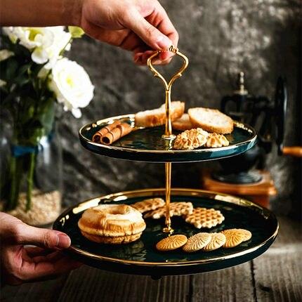 Table à Dessert vert émeraude nordique après-midi anglais plateau à gâteaux thé chaîne en céramique à deux étages plat à collation assiette à fruits