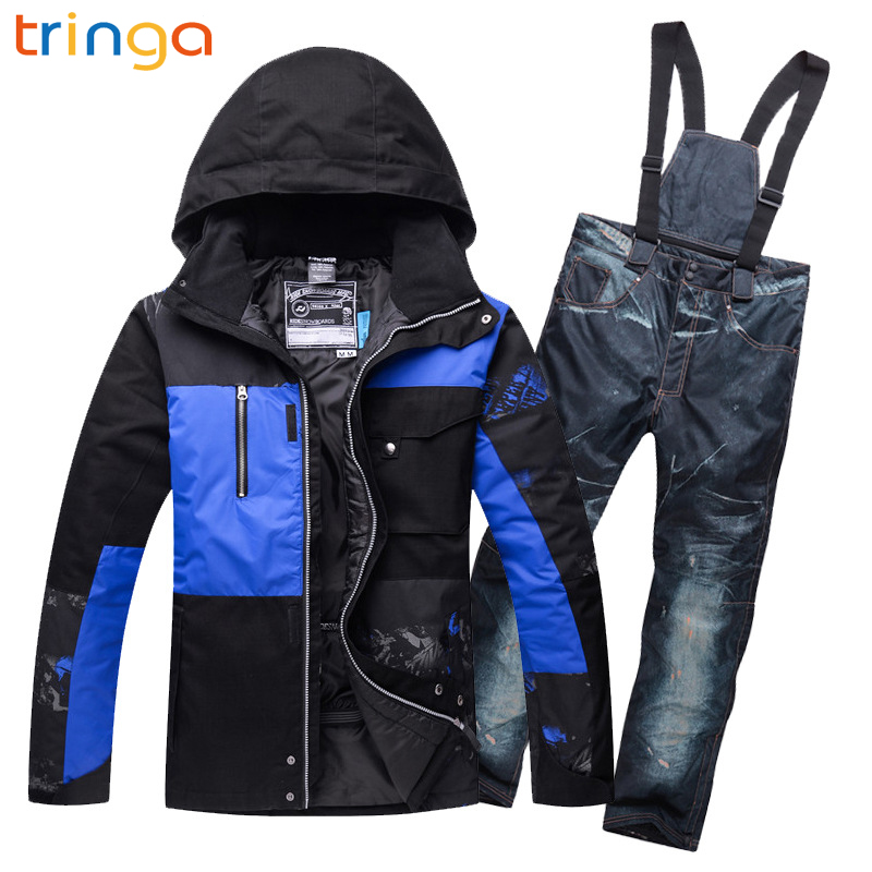 TRINGA Hot New Ski Suits for Men Ski Jacket Pants Waterproof Breathable Snowboarding Snow Suits Male Warm Outdoor Sports Sets недорого