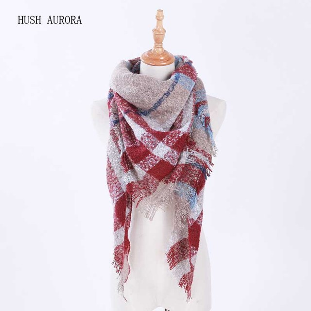 New Arrival Autumn Winter Female Triangl Scarf Imitation Cashmere Scarf Women Cashmere Stripe Cloak Shawl For Ladies