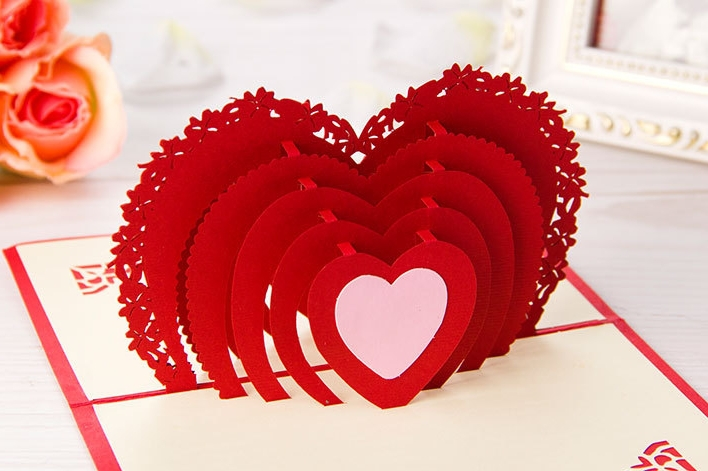 5pcs Lot 3d Pop Up Greeting Card Diy Drawing Heart