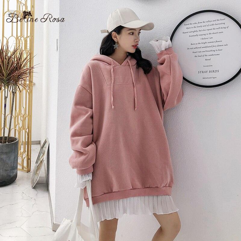 a23c9d5084 Aliexpress.com : Buy BelineRosa Sweet Ladies Hoodies False 2 Pieces Chiffon  Hem Plus Size Winter Clothes Big Sizes Pullovers for Women HM000022 from ...