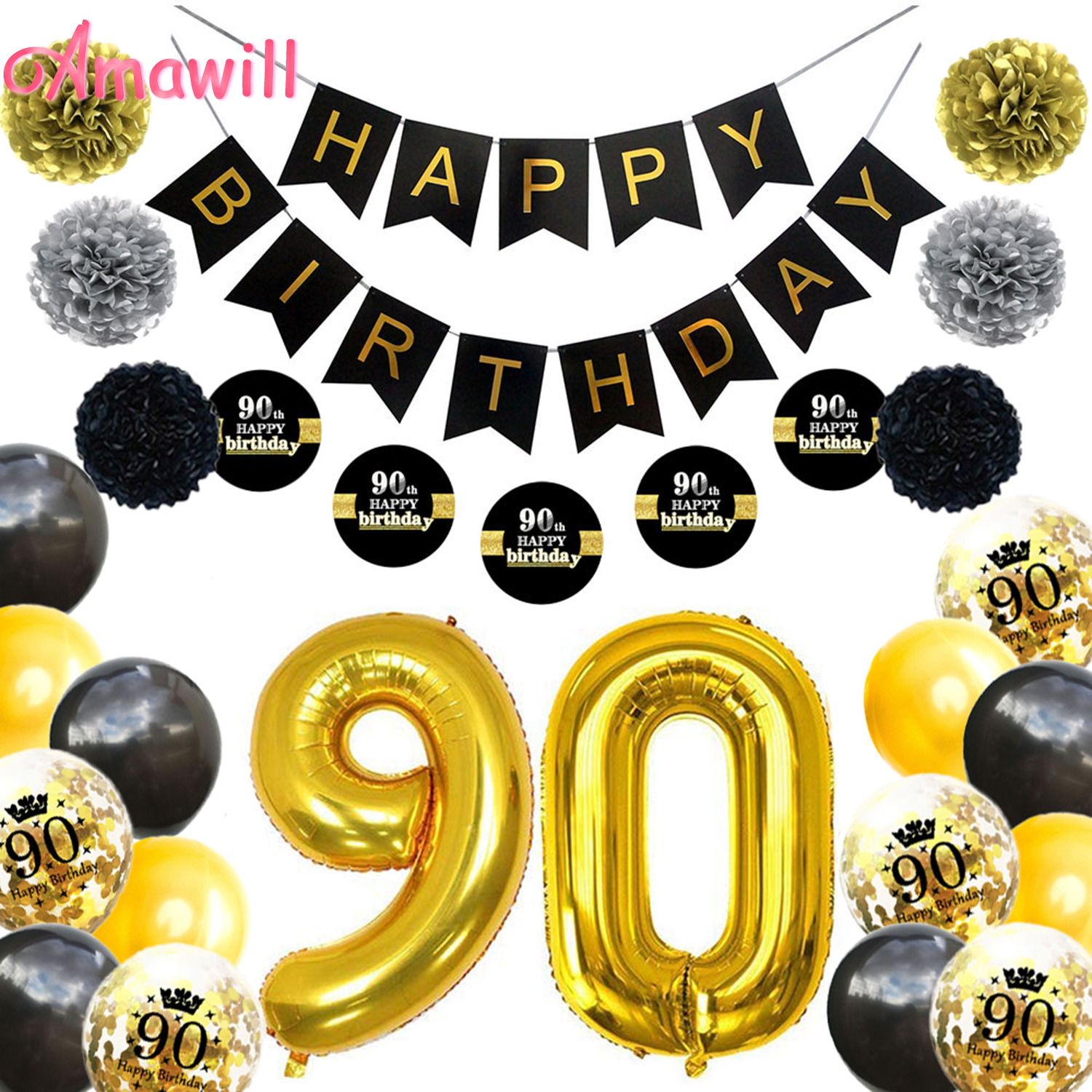 Amawill <font><b>90</b></font> <font><b>Years</b></font> Old Party Supplies Happy <font><b>Birthday</b></font> Banner Black&Gold Latex Confetti Ballon 90th <font><b>Birthday</b></font> Party Decor Adult 7D image
