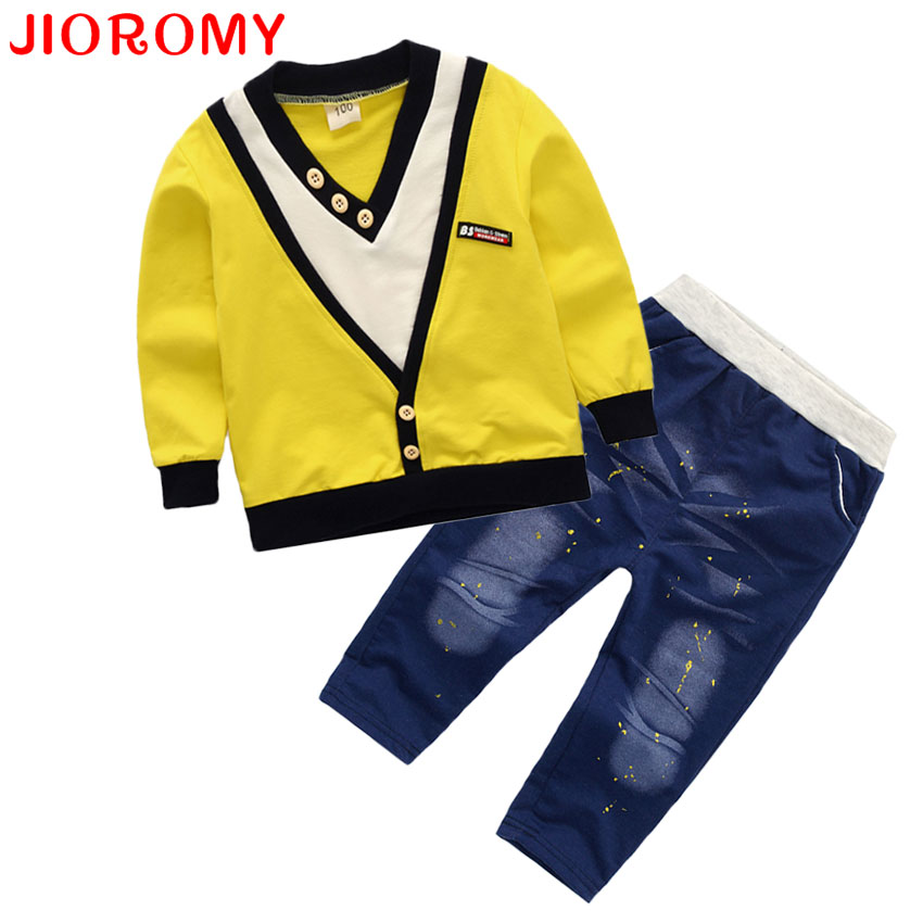JIOROMY 2017 Spring Full Boy Fashion Suits Long Sleeve T-shirt+Pants Sets of Children's Wear Turn-down Collar Kids Clothes Sets modish turn down collar plaid print tiny skulls pattern long sleeve shirt for men