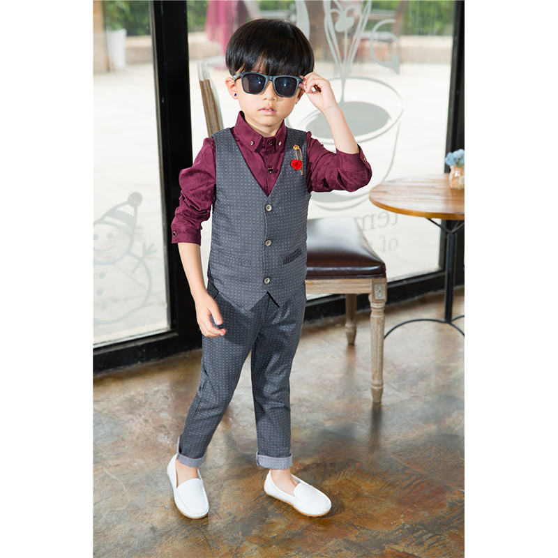 c4d214bc578d9 2 3 4 5 6 8 Years Baby Boys Gentleman Clothing Sets Boy Small Dress Wedding  Birthday Party Clothes Vest & Pants 2 pcs Suit