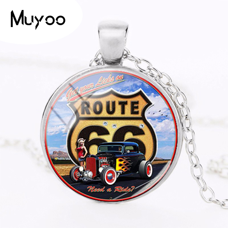 2018 New USA ROUTE 66 Road Pendant Necklace Historic Route 66 Weathered Road Sign Pendants Glass Dome Necklaces Jewelry