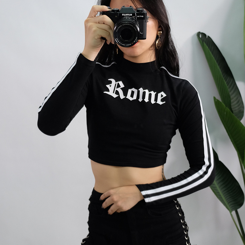 2275a814b6a Fetoo women turtleneck sexy red crop tops romeo letter printed long sleeve  2018 autumn tumblr punk cropped sweatshirt hoodies