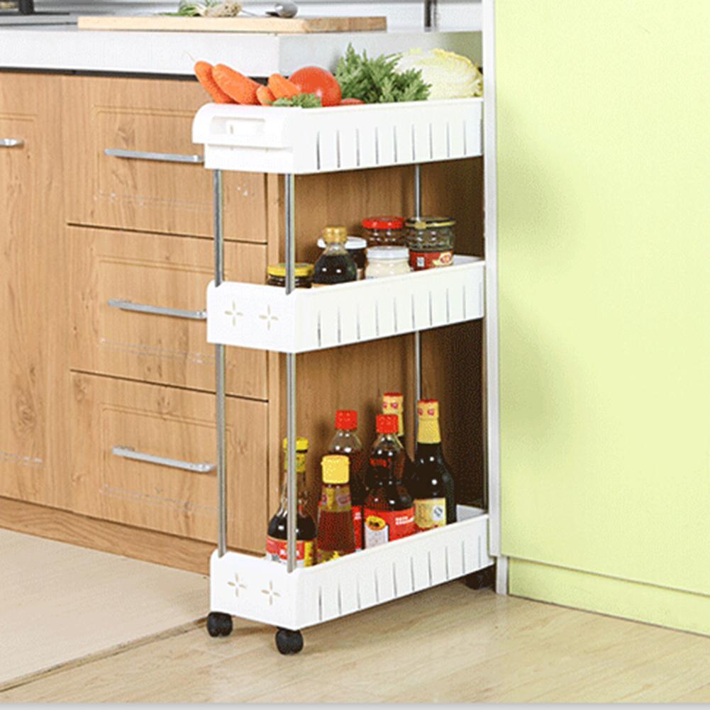 4 Layer Gap Kitchen Storage Rack Shelf Slim Slide Tower Movable Assemble Plastic Bathroom Shelf Wheels Space Saving Organizer