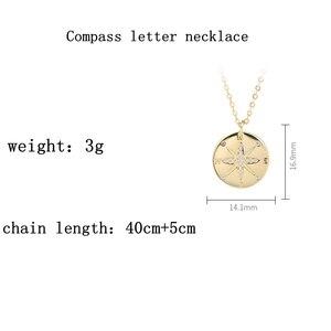 Image 5 - LouLeur 925 סטרלינג כסף זהב מצפן מכתב תליון שרשרת עגול creative שיק אלגנטי לתכשיטי נשים