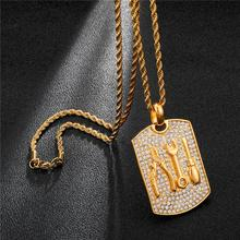 HIP Hop 316L Stainless Steel Full Rhinestone Bling Iced Out Necklace Necklaces & Pendants for Men Jewelry Dropshipping