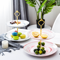 2 Layers Creative Leaf Cake Plate Rack Dried Fruit Tray Frame Rack Tempered Glass English Afternoon Tea Plate Home Decor as Gift