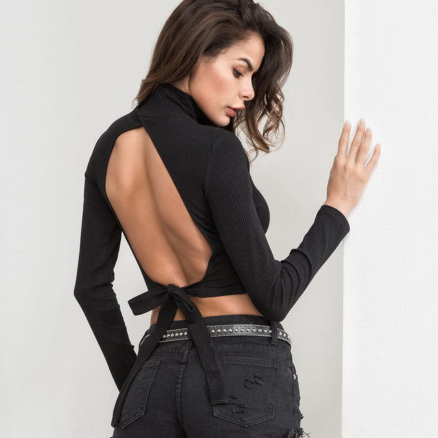 5fde1e63 sexy black long sleeve t shirt women turtleneck crop top open back hollow  out tie up bandage wrap tops knitted WT4724