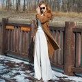 Perla blanca delgada pantalones casuales pantalones anchos de la pierna de otoño e invierno engrosamiento de lana de cintura alta pantalones casuales