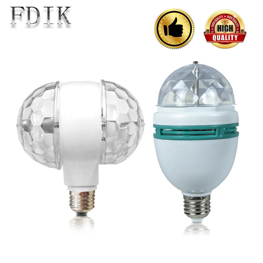 E27 Magic ball Bulb 3W RGB Auto rotate Stage Lamp Discos Bar Party Wedding Atmosphere lamps Colorful light Decorative lighting