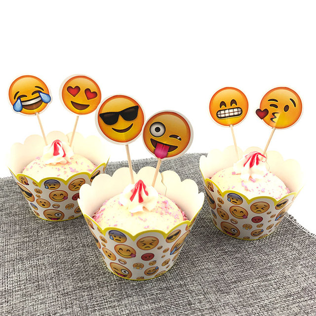 12 Sets Emoji Theme Party Cupcake Wrappers Supplies Kids Birthday Cartoon Decorations Baby Shower Cake